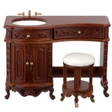 Avalon Walnut Vanity and Stool