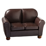 Brown Leather Look Love Seat