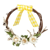 Yellow Bow-and-Bouquet Wreath