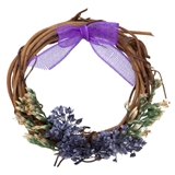 Purple Bow-and-Bouquet Wreath