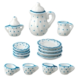 17-Pc. Blue Dot Coffee Service Set