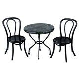3-Pc. Marble and Black Patio Set