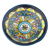 Blue and Yellow Moroccan Pottery Bowl Féve