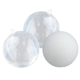 2 BALL ORNAMENTS & 1 STRYOFOAM BALL
