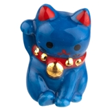 Blue Safety Maneki Neko Cat Fève