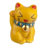 Yellow Good Fortune Maneki Neko Cat Fève