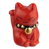 Red (Good Health Maneki Neko Cat Fève)