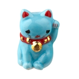Blue Success Maneki Neko Cat Fève