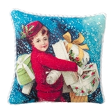 Vintage Boy in Red Pillow