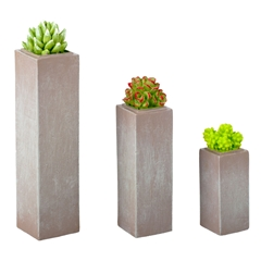 Trio of Square Succulent Planters