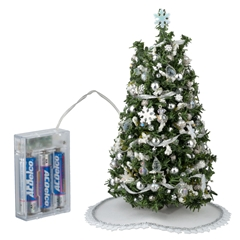 Silver And White Lighted Christmas Tree