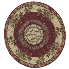 Burgundy French Bouquet Round Rug