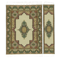 Gold and Jade Medallion Rectangle Rug and Runner Set