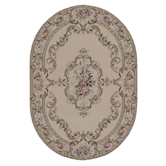 Cream Arabesque Oval Rug