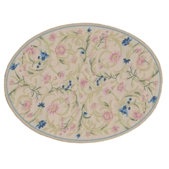 Ecru Flowering Vine Oval Rug
