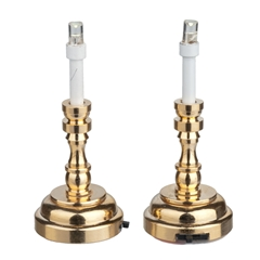Pair of Large Brass Battery-Operated LED Candlesticks