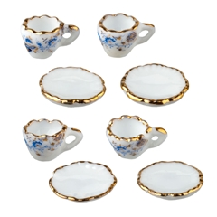 8-Pc. Set of Blue Onion Demitasse Cups and Saucers by Reutter Porzellan