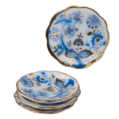 Four Blue Onion Dinner Plates