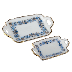 Two Blue Onion Serving Trays