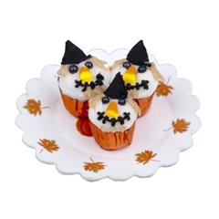 Three Scarecrow Cupcakes on Doily