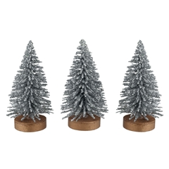 Three Mini Silver Glitter Trees