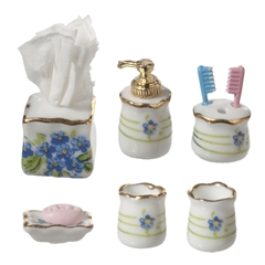 7-Pc. Blue Pansy Bath Accessory Set by Reutter Porzellan