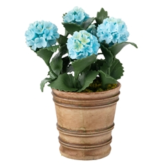 Blue Hydrangea in Italian Planter