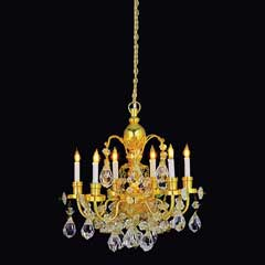 6-Arm Brass Grandeur Crystal Chandelier