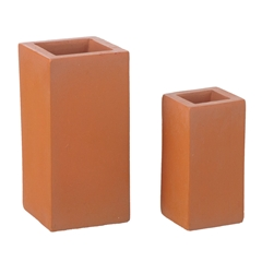 Pair of Block Terra-Cotta Planters