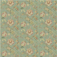 Aqua Jacobean Wallpaper
