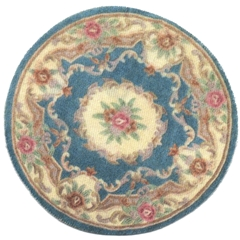 Round Floral and Scroll Rug