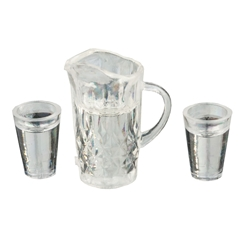 Filled Water Pitcher and Two Glasses