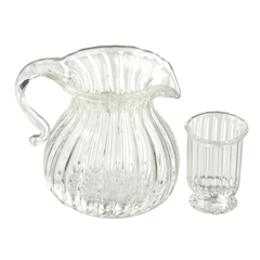Ribbed Pitcher and Glass