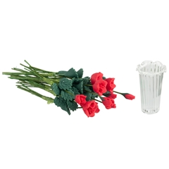 Dozen Red Roses and Clear Vase
