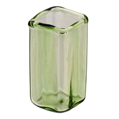Square Green Glass Vase