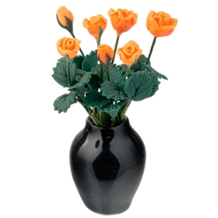 Apricot Roses with Black Vase