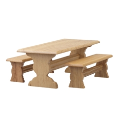 3-Pc. Oak Trestle Table Set