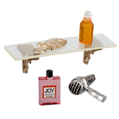Acrylic Shelf with Perfume and Hairstyling Accessories