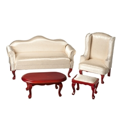 4-Pc. Off-White Queen Anne Living Room Set