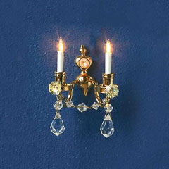 12V Double-Candle Crystal Wall Sconce