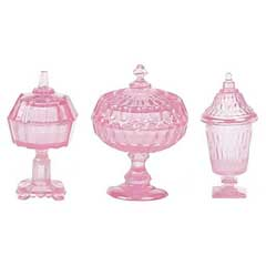 Set of Three Pink Candy Dishes