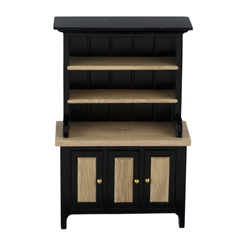 Black and Oak Display Hutch