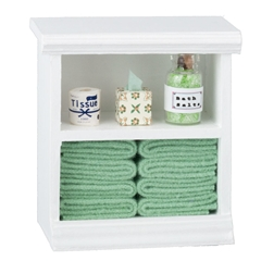 Bathroom Cupboard with Green Accessories