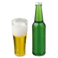 Large Beer Bottle and Glass