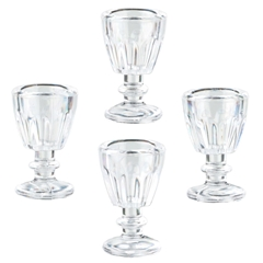 Four Ribbed Wine Glasses