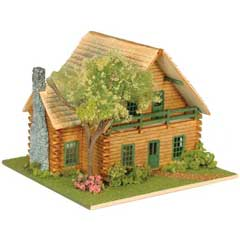 1/144 inch Scale Log Cabin Lodge Dollhouse Kit