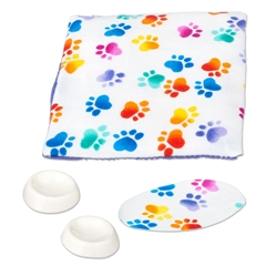 4-Pc. Pet Bed and Bowl Set